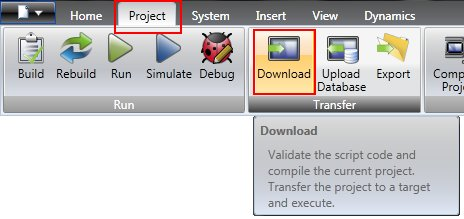 The Download icon in the ribbon menu
