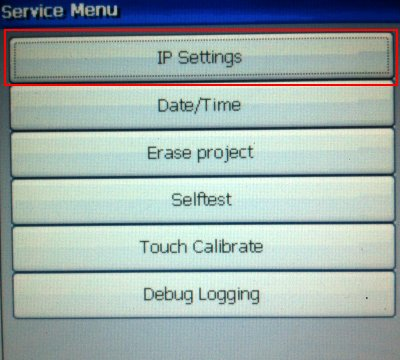 The Sercvice menu on a T10A